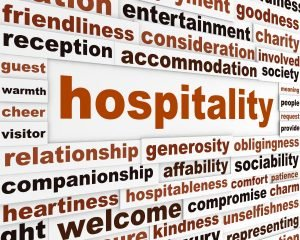Hospitality creative words conceptual poster