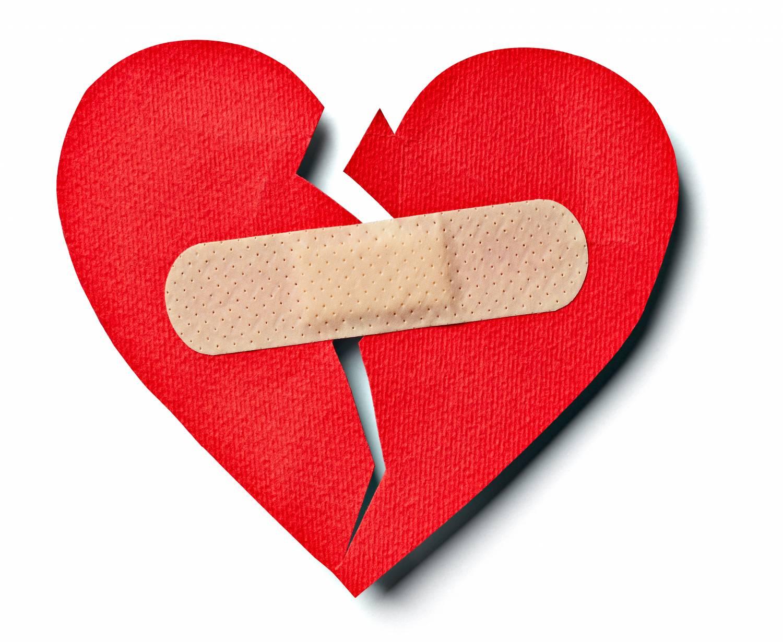 Broken heart with bandage: healing.