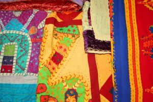 Many colored patchwork and applique quilt