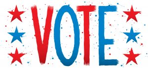 The word VOTE in red and blue with red and blue stars