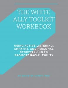 image of book cover: The White Ally Toolkit Workbook, gray with a blue geometric figure, mostly white lettering