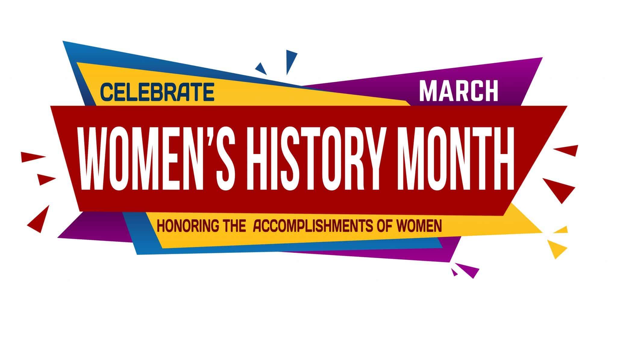 Women's history month banner design on white background, vector illustration