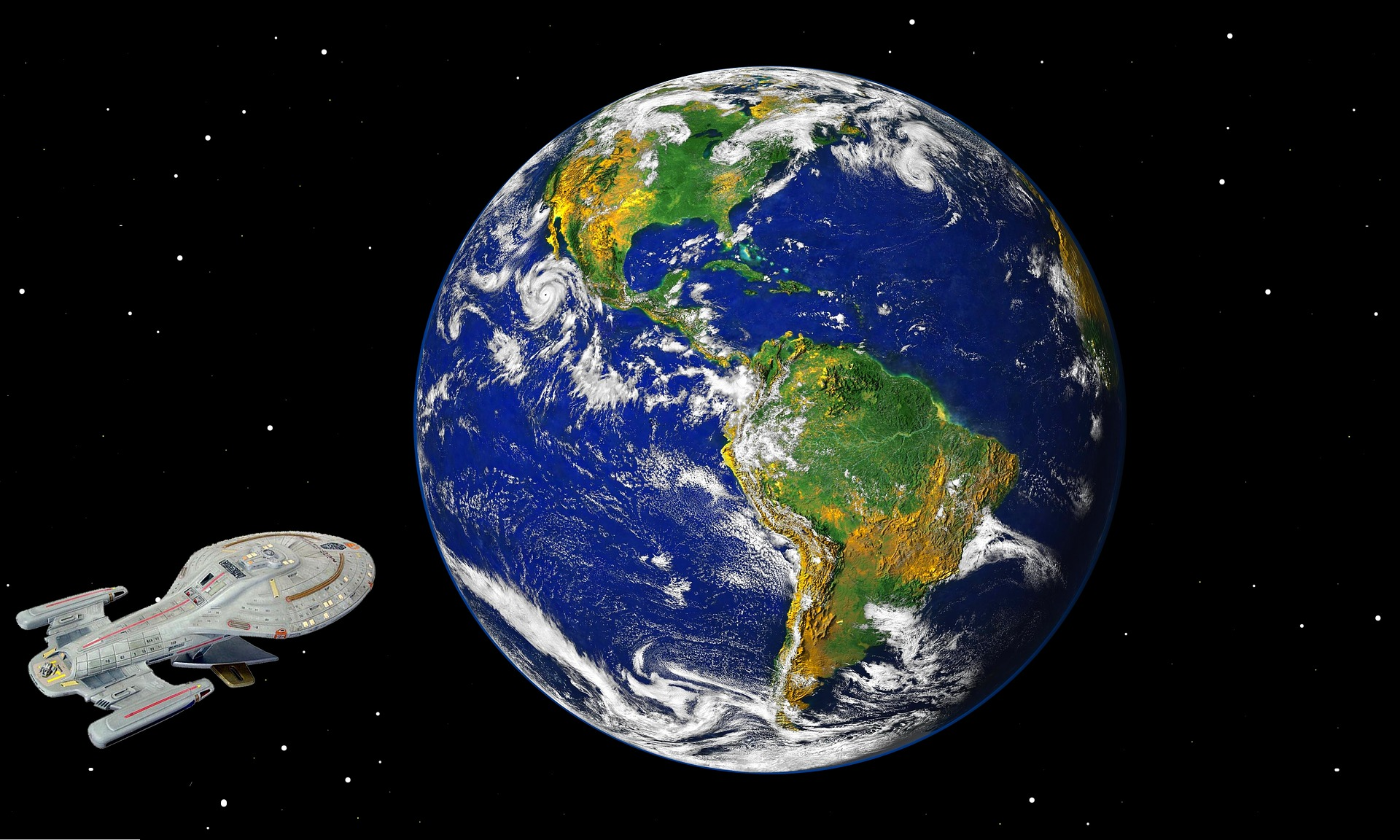 Earth from space, with a space ship approaching
