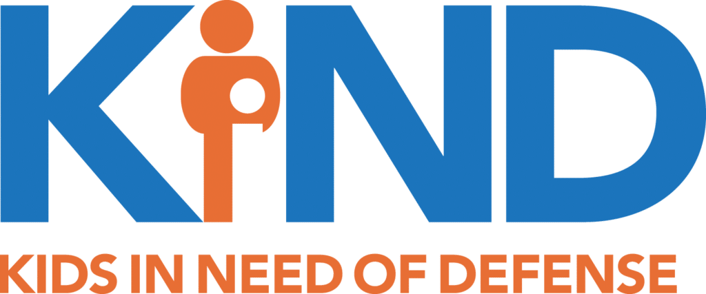 Kids in Need of Defense logo, with the I formed by an adult protecting a child