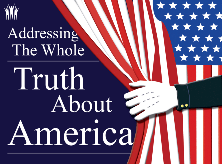 Text: Addressing the Whole Truth About America. Image: a white-gloved hand pulls aside an American flag to reveal those words. AEU logo at top left.