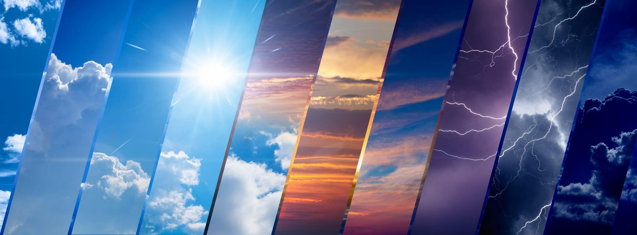 collage of sky image with variety weather conditions - bright sun and blue sky, dark stormy sky with lightnings, sunset and night