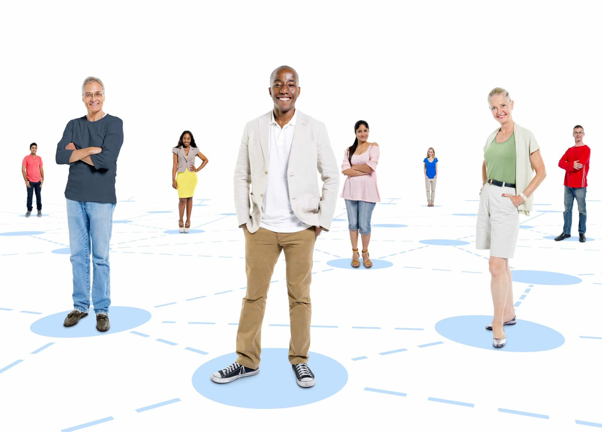 people of diverse ages and backgrounds each standing on a blue circle, with dotted lines connecting them