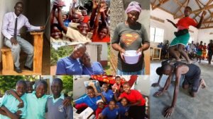 collage of images of people at the Uganda Humanist schools, teaching, learning, and playing