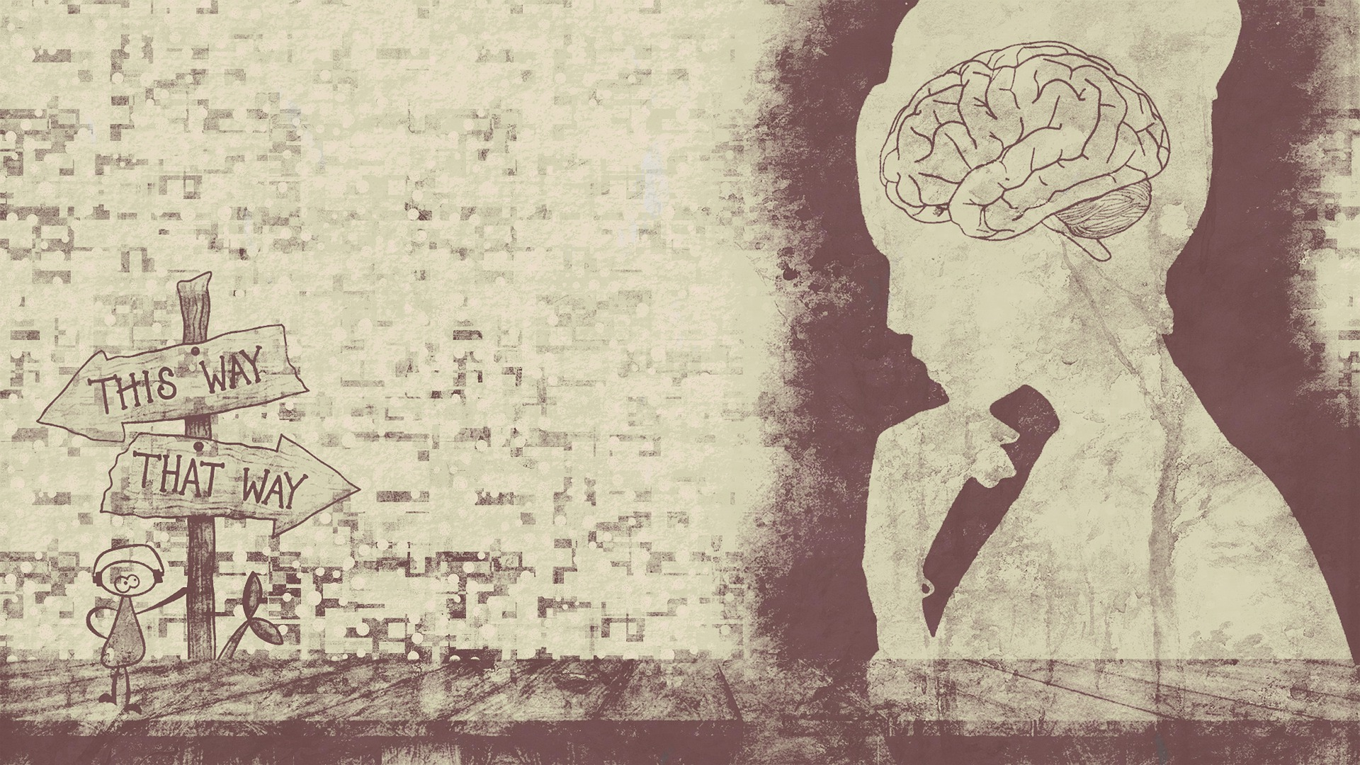 drawing of a woman with her brain visible, looking at signs saying this way or that way.